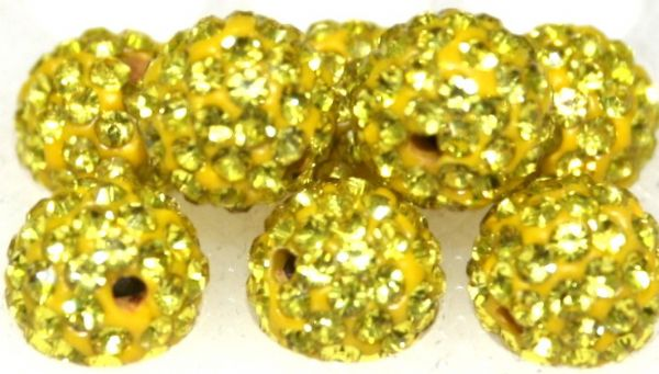 8mm Bright Yellow 70 Stone  Pave Crystal Beads- 2 Hole PCB08-70-016